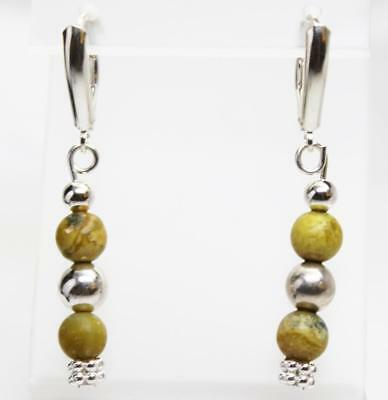 ~MGJ~ Sterling Yellow Turquoise & Bali  Beads Dangle Leverback EARRINGS 2
