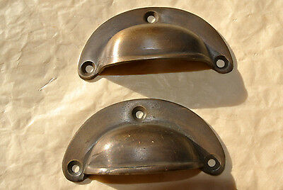4 small shell shape pulls handles antique solid brass vintage aged drawer 66 mm 3