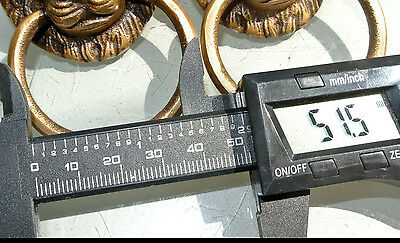 """4 PULLS handles Small heavy LION SOLID BRASS old style house antiques 2""""B 5"""