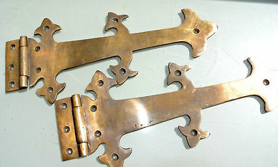 """2 Large hinges vintage aged old style solid Brass DOOR box heavy 11"""" gate B 4"""