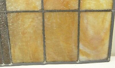 GEOMETRIC RECTANGULAR LEADED-STAINED GLASS WINDOW~Art Deco 22x15~HEAVY OBSCURITY 7