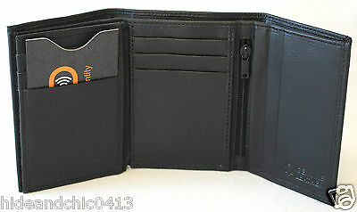 11011 RFID Security Lined Zip-Around Leather Wallet Full Grain Cow Hide Leather
