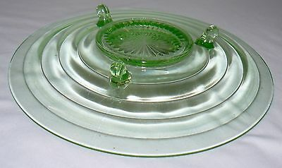 """Lot Set Of 2 Green Glass 11"""" Footed Plate Bowl 12"""" Plate With Handles Party Dish 6"""