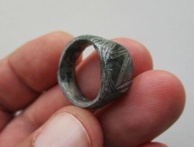 ancient late Byzantine Medieval bronze-silvered carved ring, circa XII century 3