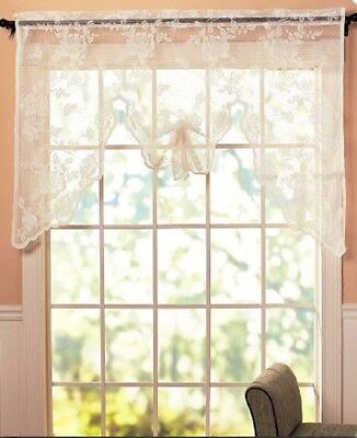 Vintage Lace Curtains Abbey Rose Swags or Panels Country Lace Window Treatments 3
