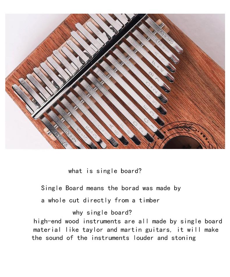 17 Key Kalimba Thumb Piano High-Quality Wood Body Sanza Mbira Musical Instrument 3