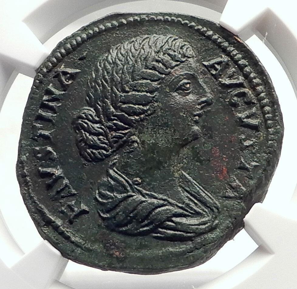 FAUSTINA II Jr MARCUS AURELIUS Wife Sestertius Ancient Roman Coin  NGC i71716 2