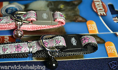 Trixie Cat XL size Collars reflective pink / black with flower & bell safer life 2
