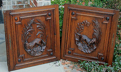 Antique French Oak Black Forest FOX Architectural Hanging Wall Panel Door #1 5