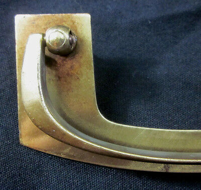 "Vintage brass plated mid century modern drawer drop bail pull 4-13/16"" width 5"