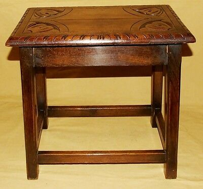 Antique Carved Solid Oak Joint Stool / Occasional Table / Lamp Stand (8) 4