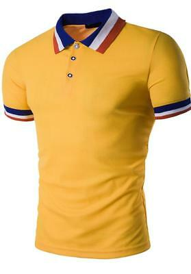 New Men's Slim Fit POLO Shirts Solid Short Sleeve Casual Golf T-shirt Tee Tops 9