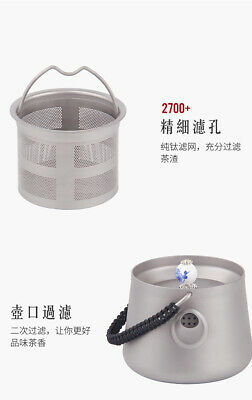 Pure Titanium Kung Fu Tea Container Hand pot Teapot cup With Filter Strainer 9