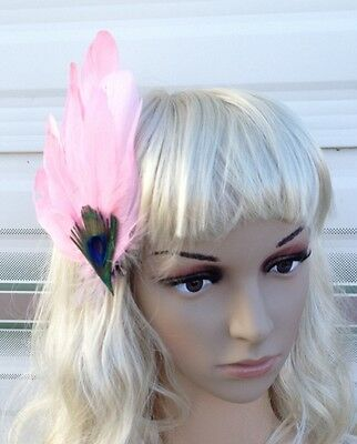 light pink fascinator millinery peacock feather hair clip wedding piece ascot 2