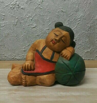 Large Antique Vintage Chinese Hand Carved Wooden Figurines/ Statue Boy with Girl 9