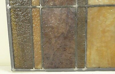 GEOMETRIC RECTANGULAR LEADED-STAINED GLASS WINDOW~Art Deco 22x15~HEAVY OBSCURITY 6