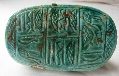 Egyptian revival Scarab turquoise faience 9 x 4 cms snake pattern hieroglyphs 3