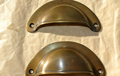2 small shell shape pulls handles antique solid brass vintage aged drawer 66 mm 3