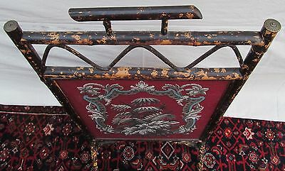 Beautiful Victorian Bamboo Antique Firescreen With Floral Glass Bead Work 7