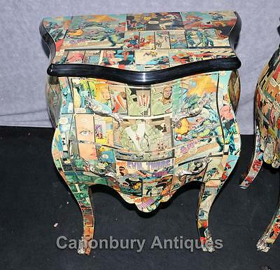 Pair Funky Comic Print Chests of Drawers Deco Commode Bombe 2