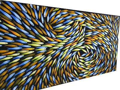 Art Painting 240cm  x 90cm Fish Canvas seascape large  aboriginal  painting 2