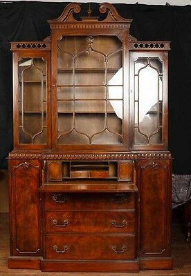 Victorian Gothic Breakfront Bookcase Mahogany Bookcases Chippendale 11