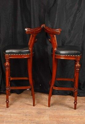 Pair Victorian Hand Carved Mahogany Bar Stools Seats 9