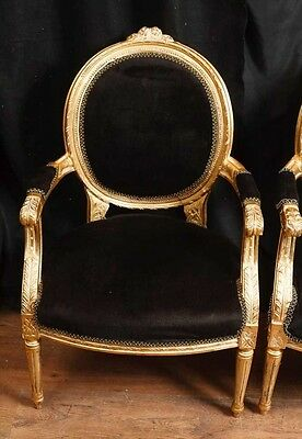 Pair French Empire Gilt Arm Chairs Fauteils 7