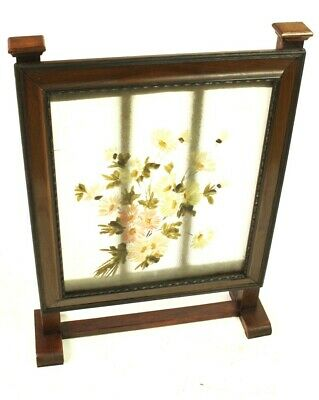 Vintage Mahogany and Hand Painted Glass Fire Screen [5500] 2