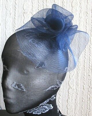 navy blue flower fascinator millinery  brooch clip wedding hat bridal ascot race 2