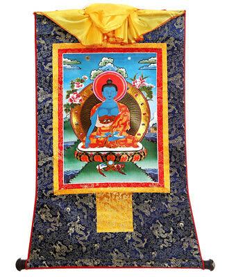TIBET BUDDHIST THANGKA Akshobhya & Immovable Buddha Brocade Scroll Printed  13