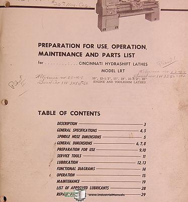 Cincinnati LRT Hydrashift Lathe Service Manual /& Parts List  *474