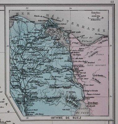 Original antique map EGYPT & ABYSSINIA, ETHIOPIA, SUEZ, CAIRO, Migeon 1891