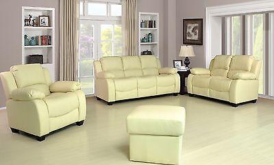 New Valerie Luxury Leather Sofa Suite Black Brown Cream Set Three Piece Pouffe 3