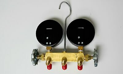 """Yellow Jacket 42044 Heat Pump Charging Manifold with 60"""" Black Plus 1/4"""" Hoses, 3"""