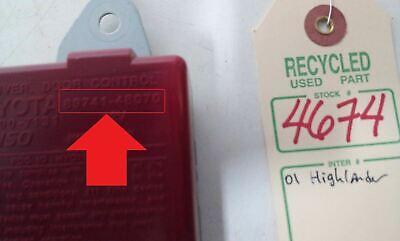 2001 Toyota Highlander Receiver Door Control Module OEM 89741-48070 #4674 6