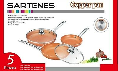 Juego De 3 Sartenes 2 Tapas Color Cobre Copper Pan Apto Para Horno Mango Acero 2