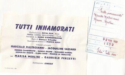 """©Pierluigi 1959, Marcello Mastroianni et divers """"TUTTI INNAMORATI"""" 6 tirages 2"""