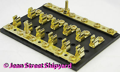 Marine 6 Gang Combination Block 8-32 Screws Brass Fuse Clips SFE or AGC