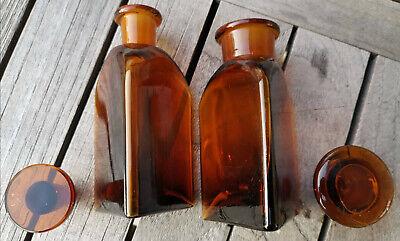 Apotheker - Altes Pärchen für Morphine ohne Etikett-SELTEN! Dreieckige Flaschen 4