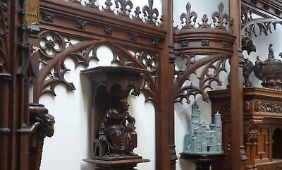 19C English Gothic Spire Curved/Carved Tiger Oak Church Organ Surround 4