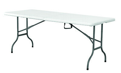 Heavy Duty 6Ft 1.8M Folding Table + 8 Chairs Catering Camping Trestle Market Bbq 2