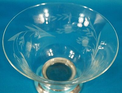 Sterling Silver Footed Etching Glass Bowl 2