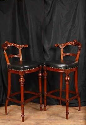 Pair Victorian Hand Carved Mahogany Bar Stools Seats 8