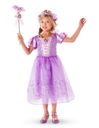 Mädchen Prinzessin Kostüm Kinder Aurora Rapunzel Cinderella Karneval Party Kleid 12