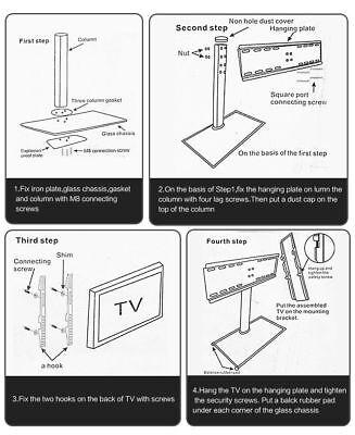 "32"" 55"" 70"" Table Top Desktop TV Stand Bracket LCD LED Plasma VESA Mount 9"