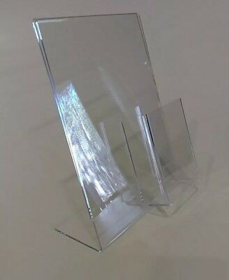 3 Clear Acrylic 8.5x11 Display Sign Holders W Vertical Brochure/Bus Card Holder 3