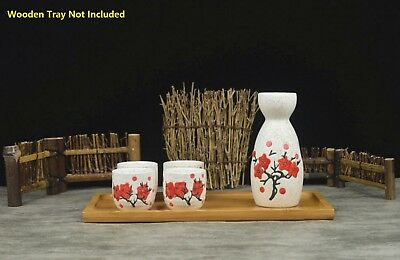 Japanese Traditional Sakura Patterned 5 Piece Sake Set 1 Bottle 4 Cups Gift Box 8