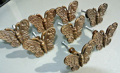 """8 heavy Butterfly handles solid Brass PULL knobs kitchens antiques 2 """" knobs B 3"""