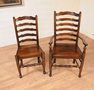 Set 8 Oak Ladderback Chairs Kitchen Dining Chair Farmhouse Furniture 4